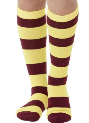 Stripey Maroon and Yellow Wizard Socks Kids Size 11 – 2½