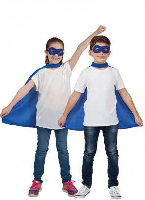Superhero Mask & Cape Blue- Unisex Kids