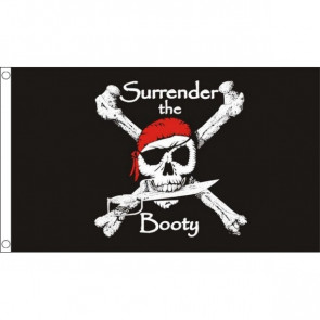 Pirate Surrender the Booty Flag 5ftx3ft