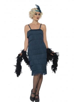 Teal Fringe Flapper Costume
