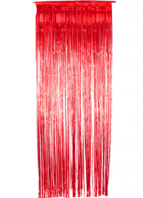 Tinsel Slash/Shimmer Curtain - Red 3ft x 9ft