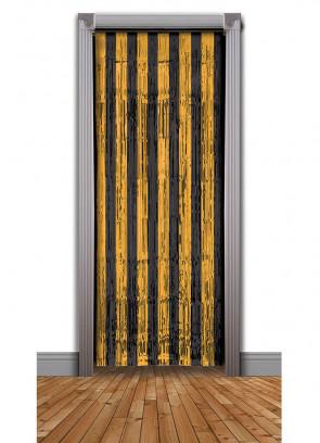 Tinsel Slash/Shimmer Curtain - Black & Orange3ft x 7.9ft