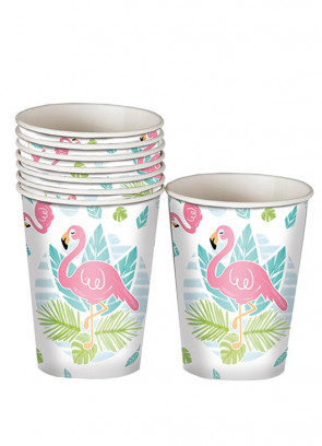 Tropical Flamingo Paper Cups 25cl -8pk