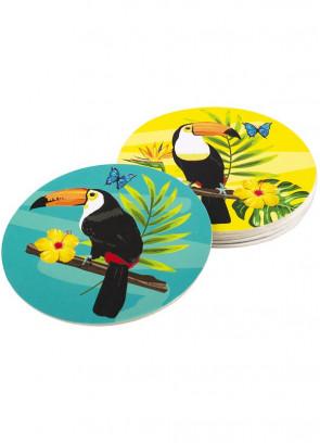 Tropical Toucan Coasters 10cm - 6pk