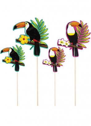 Tropical Toucan Cocktail Sticks - 4 pack