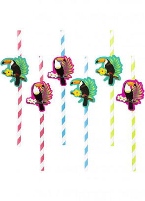 Tropical Toucan Paper Straws 19.5cm - 6pk
