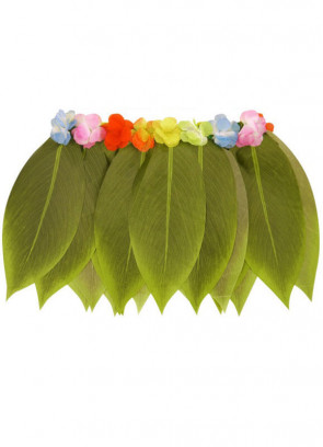 Hawaiian Grass Leaf Skirt (with flowers)