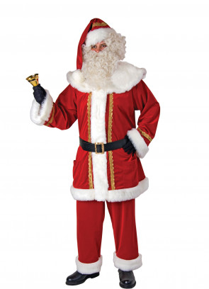 Gold Embroidery Santa Suit