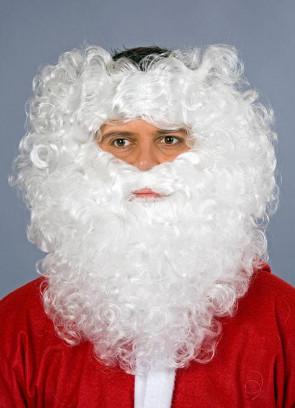 White Santa Wig & Beard - Monks-pat design wig
