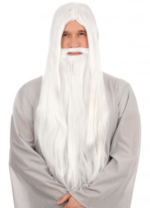 White Long Straight Prof Wizard Wig & Beard