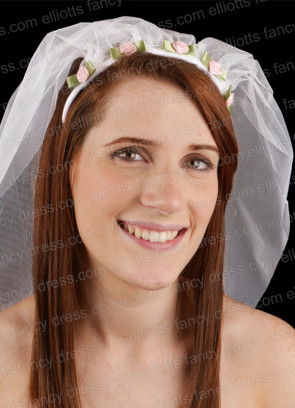 Hen Night Bride to Be Veil - Pink Roses