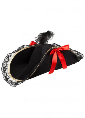 Ladies Black Pirate Hat – Bicorn