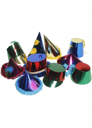 10 Large Paper Party Hats (assorted)