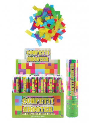 Small Multicoloured Confetti Cannon Small - 20cm - Biodegradable - x12