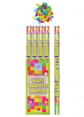 Giant Multicoloured Confetti Cannon - 80cm - Biodegradable - x12
