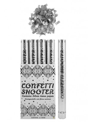 Large Silver Paper Confetti Cannon - 50cm - Biodegradable x 12