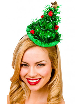 Mini Tinsel Christmas Tree Hat