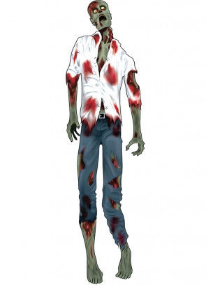 """60"""" Green Zombie Man White Shirt Jointed Cut Out"""