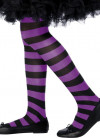 Kids Striped Tights - Purple & Black - Age 8-12