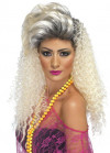 80's Bottle Blonde Long Crimped Wig with Quiff