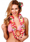 Hawaiian Orchid Lei with Leaves Hot Pink