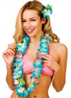 Hawaiian Orchid Lei with Leaves Blue
