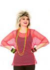 80s Short Sleeve Mesh Top - Neon Pink