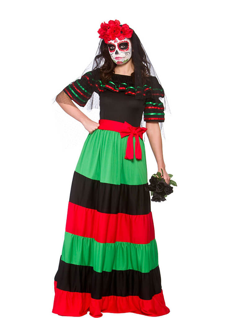 Ladies Mexican Bride Of the Dead Costume for Hispanic Halloween Fancy Dress