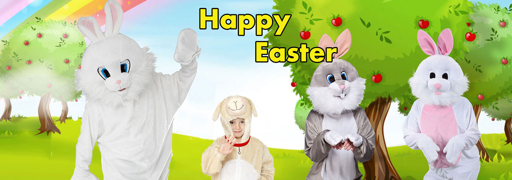 Happy Easter Everybody - Elliotts have Bunny Mascots, Rabbit costumes for kids & adults -plus some ducks and chickens-