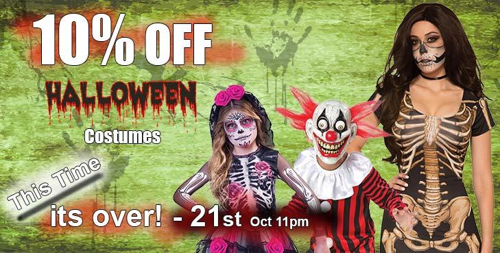 10 Percent off All Halloween Costumes